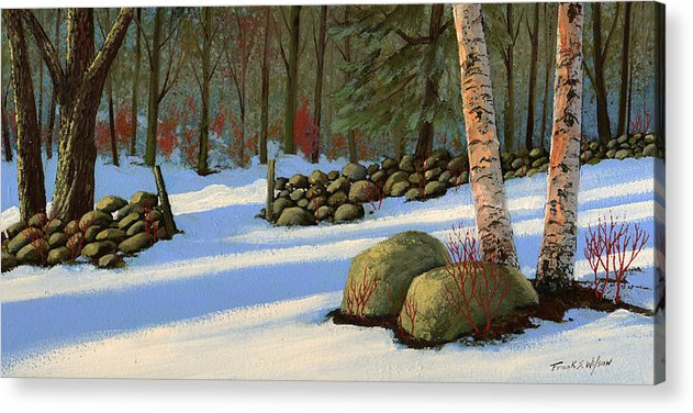 Landscape Acrylic Print featuring the painting Stone Wall Gateway by Frank Wilson