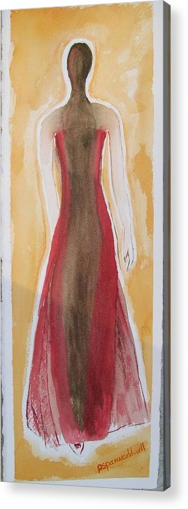 Dress Lady Red Yellow Fashion Acrylic Print featuring the painting Stranger by Patricia Caldwell