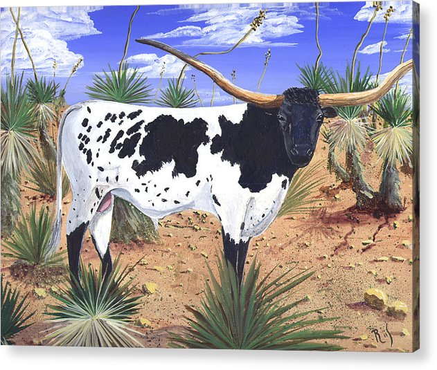 Western Art Acrylic Print featuring the painting Summer on the High Mesa by Dan RiiS Grife