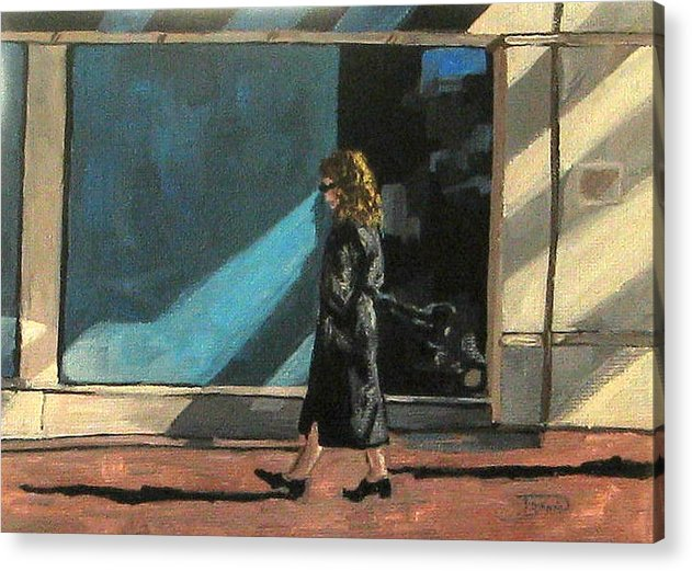 Woman Acrylic Print featuring the painting Sunlit City Stroll by Torrie Smiley