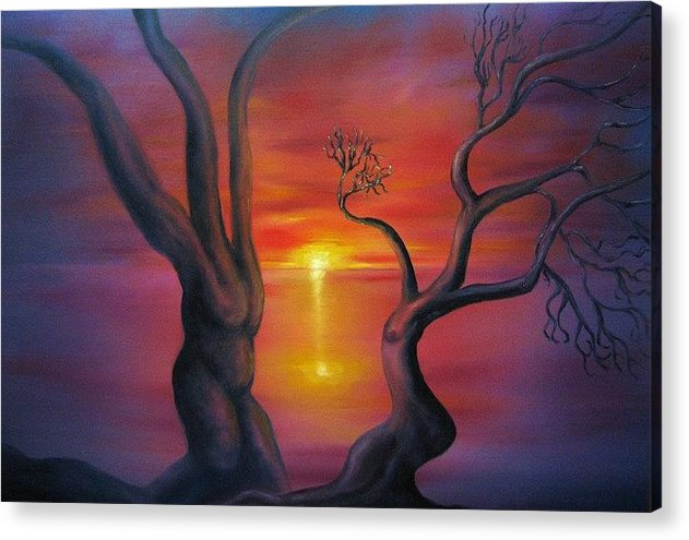 Landscape Acrylic Print featuring the painting Sunset Dance Fantasy Oil Painting by Natalja Picugina
