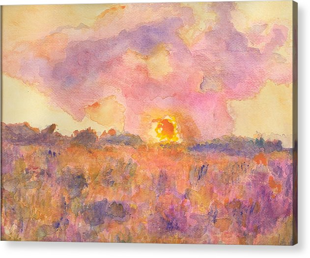 Landscape Sunset Sunrise Pink Impressionist Hillaryart Acrylic Print featuring the painting Sunset From The Road by Hillary McAllister