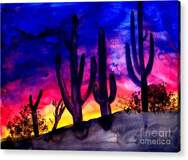 Colorful Acrylic Print featuring the painting Sunset On Cactus by Michael Grubb