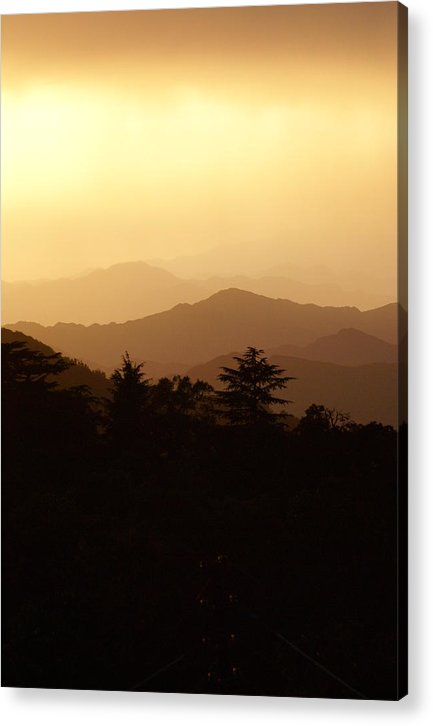 Hills Acrylic Print featuring the photograph Sunset over Chakrata hills 8 by Padamvir Singh