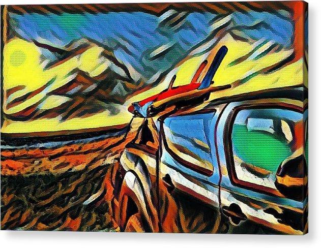 Digital Art Acrylic Print featuring the digital art Surfari Time by Gerard Kaman