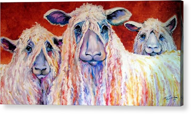 Sheep Acrylic Print featuring the painting Sweet Wensleydales Sheep By M Baldwin by Marcia Baldwin