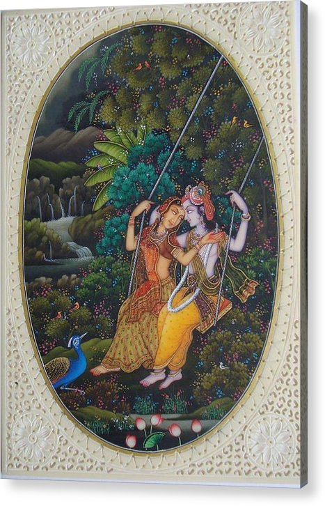 Indian Miniature Acrylic Print featuring the painting Swing by Devendra Sharma