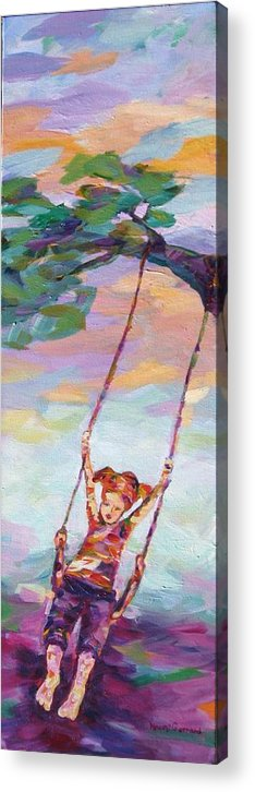 Child Swinging Acrylic Print featuring the painting Swinging With Sunset Energy by Naomi Gerrard