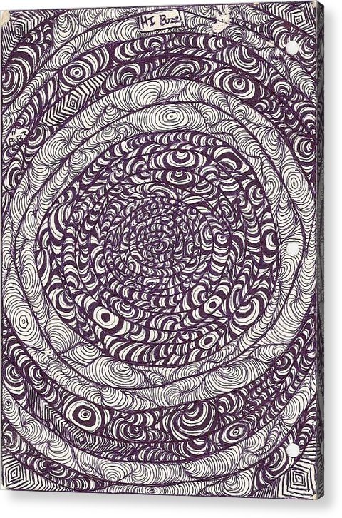 Line Warps Acrylic Print featuring the drawing Swirling Spirals by Megan Canell Downing