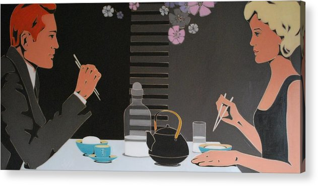 Asian Restaurant Acrylic Print featuring the painting Table For Two by Varvara Stylidou