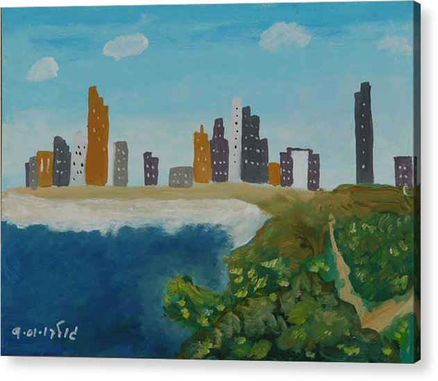 Coastline Acrylic Print featuring the painting Tel Aviv Coastline by Harris Gulko