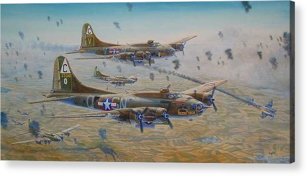 303rd Bomb Groups Vicious Virgin Acrylic Print featuring the painting The Bomb Run Over Schwienfurt by Scott Robertson
