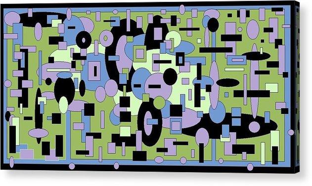 Digital Black Green Artwork Acrylic Print featuring the digital art The Field by Jordana Sands