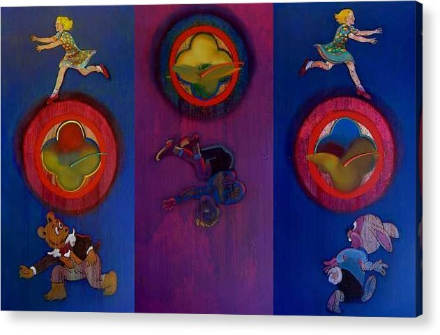 The Drums Of The Fruit Machine Stop At Random. Triptych Acrylic Print featuring the painting The Fruit Machine Stops II by Charles Stuart