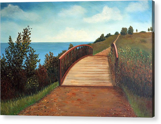 Original Acrylic Landscape Acrylic Print featuring the painting The Kissing Bridge by Sharon Steinhaus