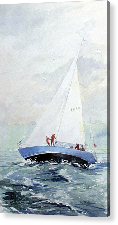 Sailing Acrylic Print featuring the painting The Race by Ken Marsden