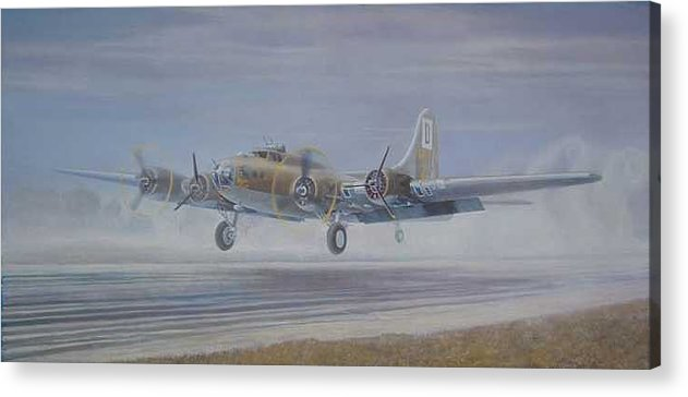 The Only Survivor Of The 100th Bomb Group On The October 10 Acrylic Print featuring the painting The Royal Flush comes home by Scott Robertson