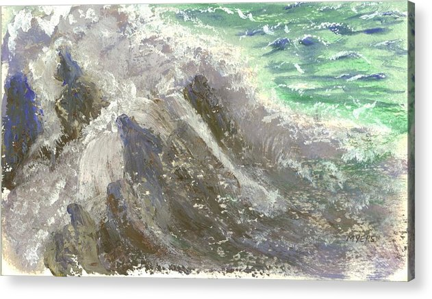 Ocean Acrylic Print featuring the painting The Rushing Ocean Waves by Rhonda Myers