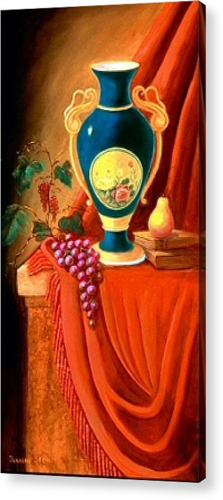 Still Life Acrylic Print featuring the painting The Teal Vase On A Red Cloth by Jeanene Stein