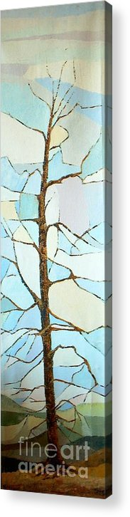 Tall Tree With Limbs Only Acrylic Print featuring the painting The Tree Sky Song by Judith Espinoza