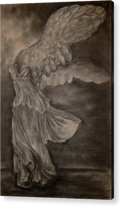 Nike Acrylic Print featuring the drawing The Victory of Samothrace by Julianna Ziegler
