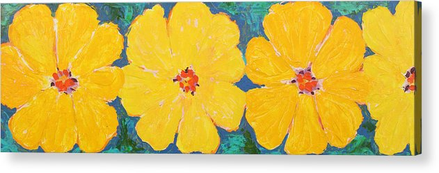 Contemporary Floral Acrylic Print featuring the painting Three And A Half Flowers by Susan Rinehart