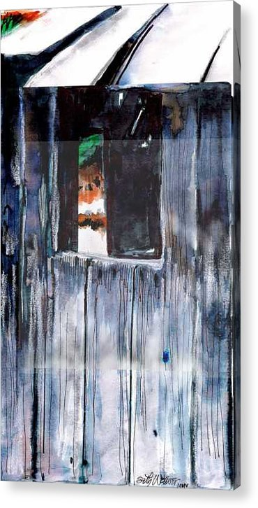 An Old Mysterious Barn With Deep Dark Shadows And Secrets. Rustic And Moody. Acrylic Print featuring the drawing Thru the Barn Window by Seth Weaver