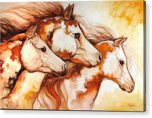 Equine Acrylic Print featuring the painting Tobiano Horse Trio by Marcia Baldwin