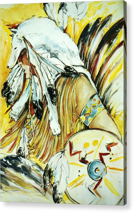 American Indian Dancer Acrylic Print featuring the mixed media Trance by Regine Legler