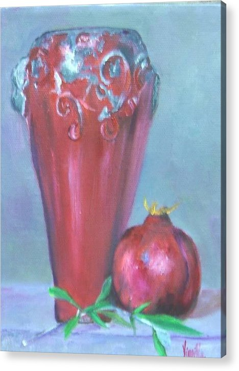 Vibrant Still Life Paintings Acrylic Print featuring the painting Tuscan Elements -italian Vase With Pomegranate by Virgilla Lammons