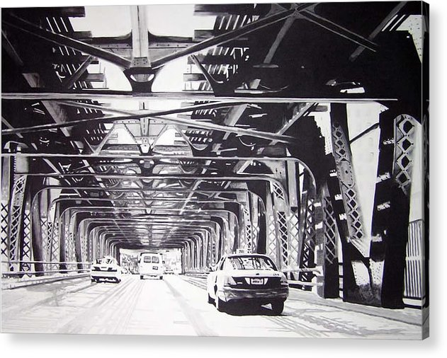 Chicago Acrylic Print featuring the painting Under The El by Scott Robinson