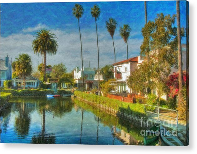 Venice Acrylic Print featuring the photograph Venice Canal Houses Watercolor by David Zanzinger