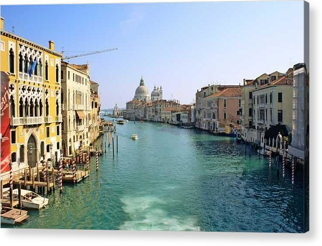 Venice Acrylic Print featuring the photograph View Of Grand Canal In Venice From Accadamia Bridge by Michael Henderson