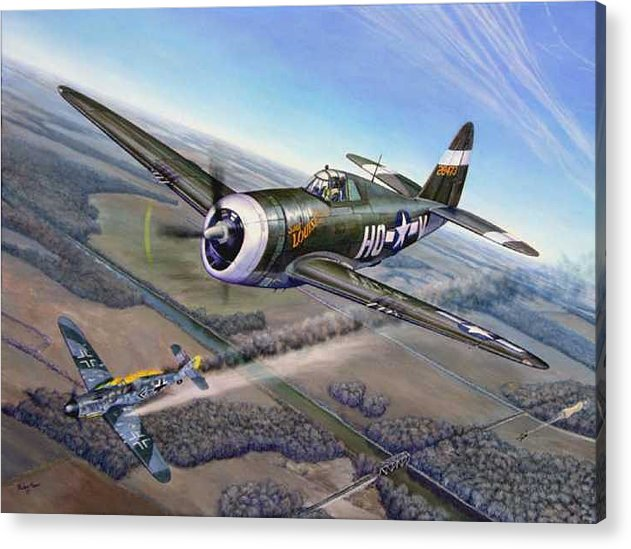 The 352nd Fighter Groups First Ace Shoots Down The German Ace Klaus Mietush On March 8th 1944 Acrylic Print featuring the painting Virgil Meroney Downs Klaus Mietush by Scott Robertson