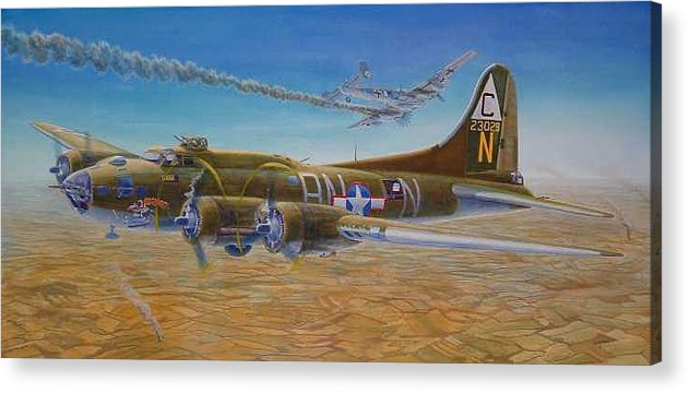 B-17 wallaroo Over Schwienfurt Acrylic Print featuring the painting Wallaroo at Schwienfurt by Scott Robertson