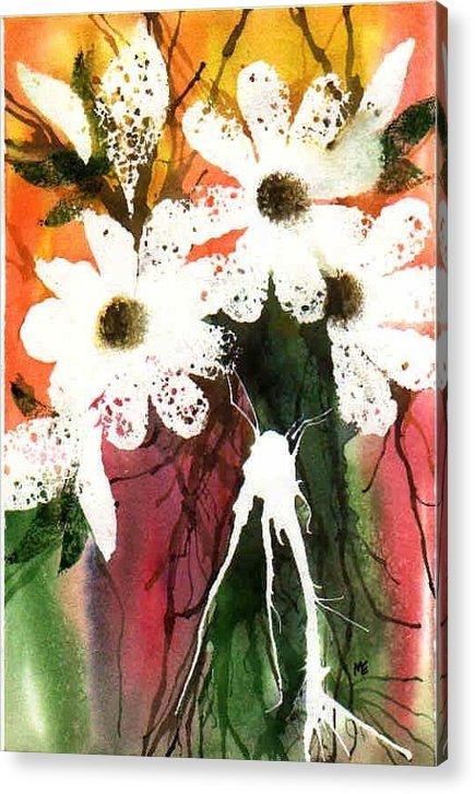Daisy Acrylic Print featuring the painting White Daisies by Marsha Elliott