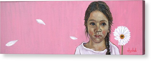 Girl Acrylic Print featuring the painting White Gerbera On Pink by Ixchel Amor