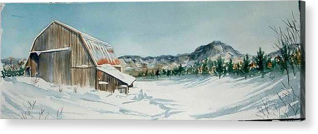 Acrylic Print featuring the painting Winter Barn by Diane Ziemski