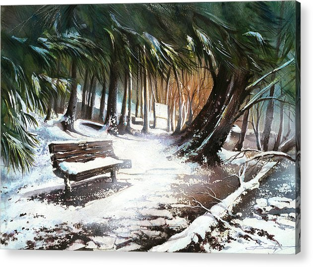 Landscape Acrylic Print featuring the painting Winter Moments by Dumitru Barliga