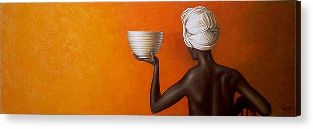 Yellow Acrylic Print featuring the painting Woman Holding A Bowl by Horacio Cardozo