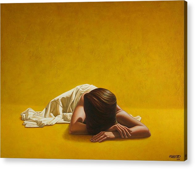 Sleeping Acrylic Print featuring the painting Woman In Yellow by Horacio Cardozo