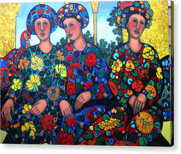 Women And Parrot Acrylic Print featuring the painting Women And Parrott by Marilene Sawaf