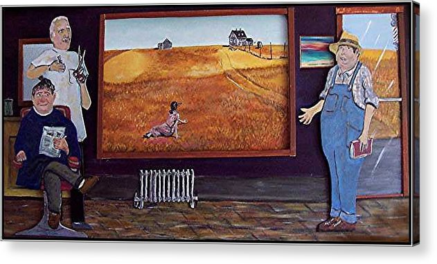 Farm Acrylic Print featuring the relief Yeah Shes Been Out There For A While Now by Richard Hubal