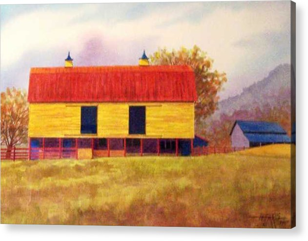 Landscape Acrylic Print featuring the painting Yellow Barn by Hugh Harris