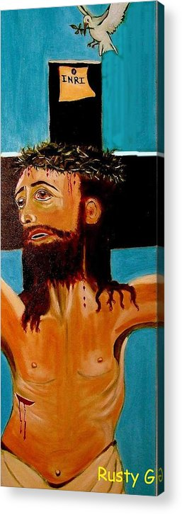 Jesus Acrylic Print featuring the painting Yeshua by Rusty Gladdish