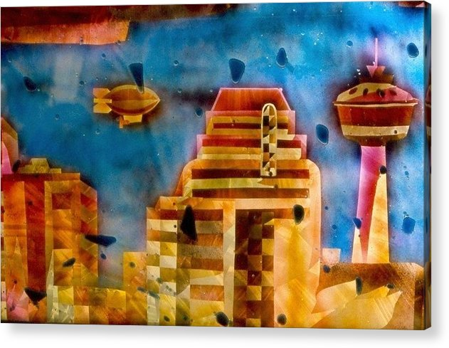 Landscape Acrylic Print featuring the painting Zepplins Detail by Rick Silas