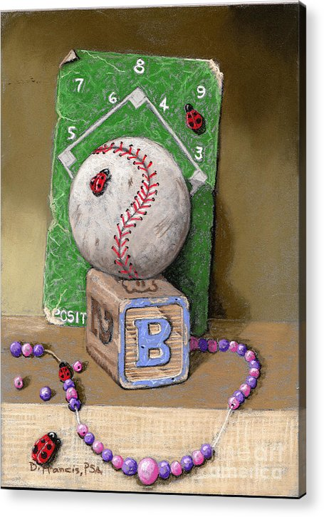 Still Life Acrylic Print featuring the painting B is for Beads Bugs and a Ball for the Bases by David Francis