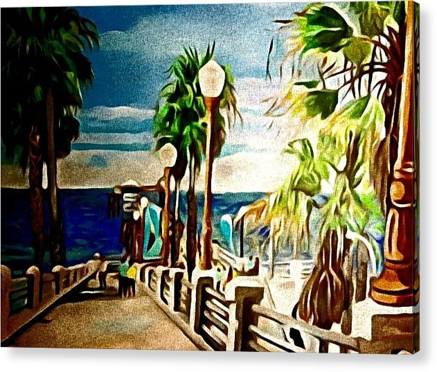 Landscape Acrylic Print featuring the painting Oceanside Peir by Andrew Johnson