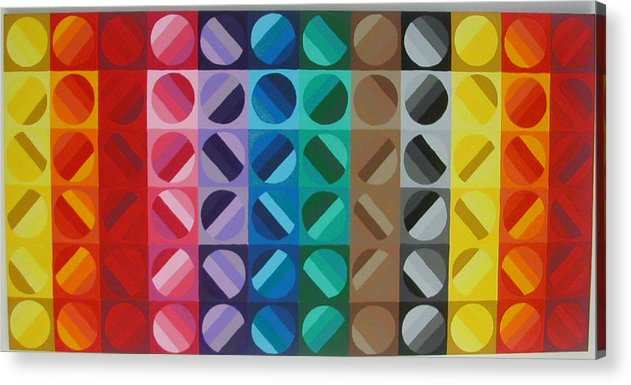 Multi Colored Circles Acrylic Print featuring the painting Over The Rainbow 1 by Gay Dallek