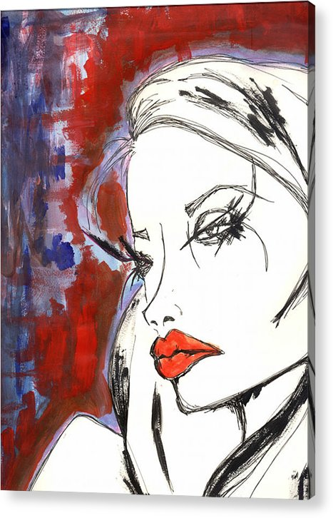 Portrait Acrylic Print featuring the mixed media Red Overlay by Kamilah Varushka